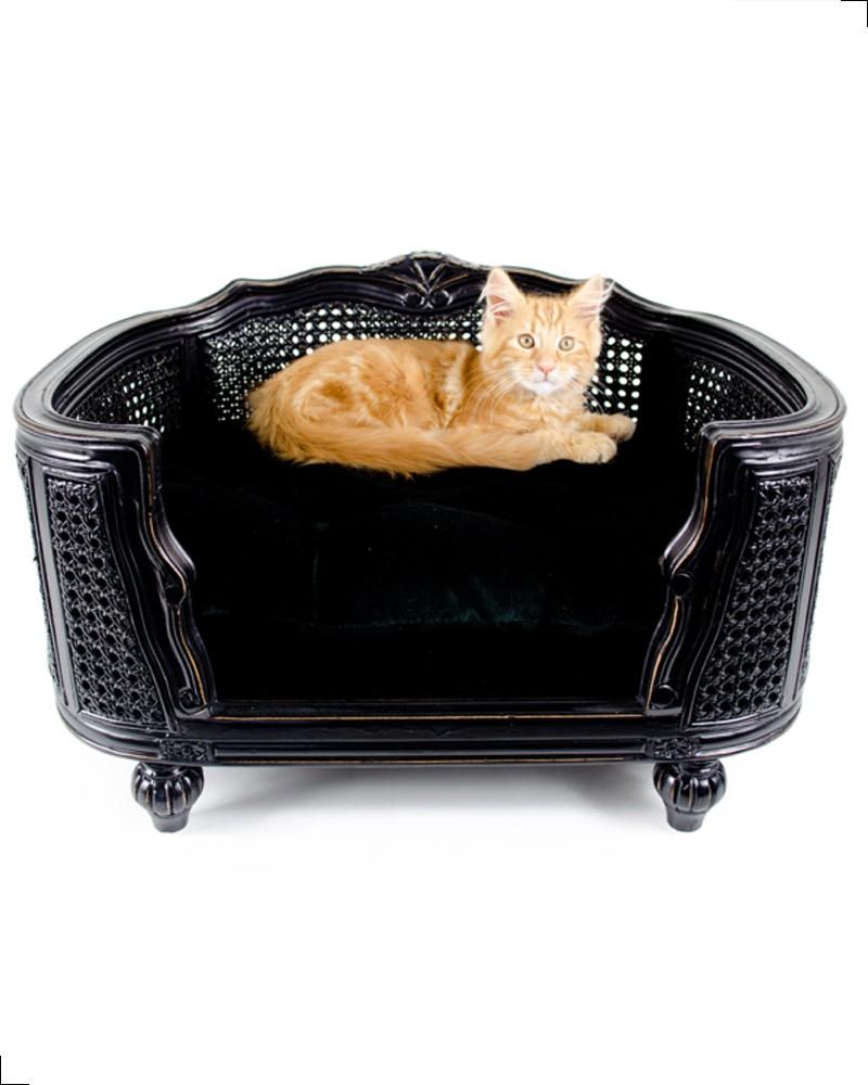 Canapé de luxe pour chat de la collection Lord Lou. Modèle Arthur en chêne et rotin noir.