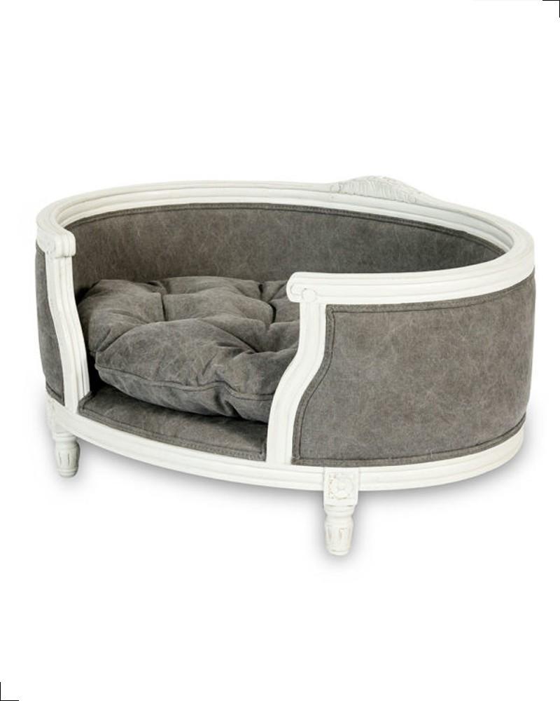 Canapé haut de gamme GEORGE gris effet stonewashed de chez Lord Lou, fabricant de mobilier haut de gamme pour chat