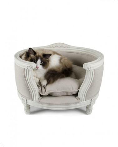 canapé haut de gamme pour chat, lin écru ou fusain, collection Lrd Lou