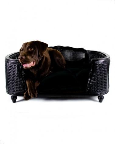 Canapé de luxe pour chien de la collection Lord Lou. Modèle Arthur en chêne et rotin noir.